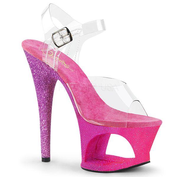 """Durchsichtige Sandalette mit auffallendem pink lavendel """"Ombre Effect"""" Cut Out Plateau MOON-708OMBRE"""